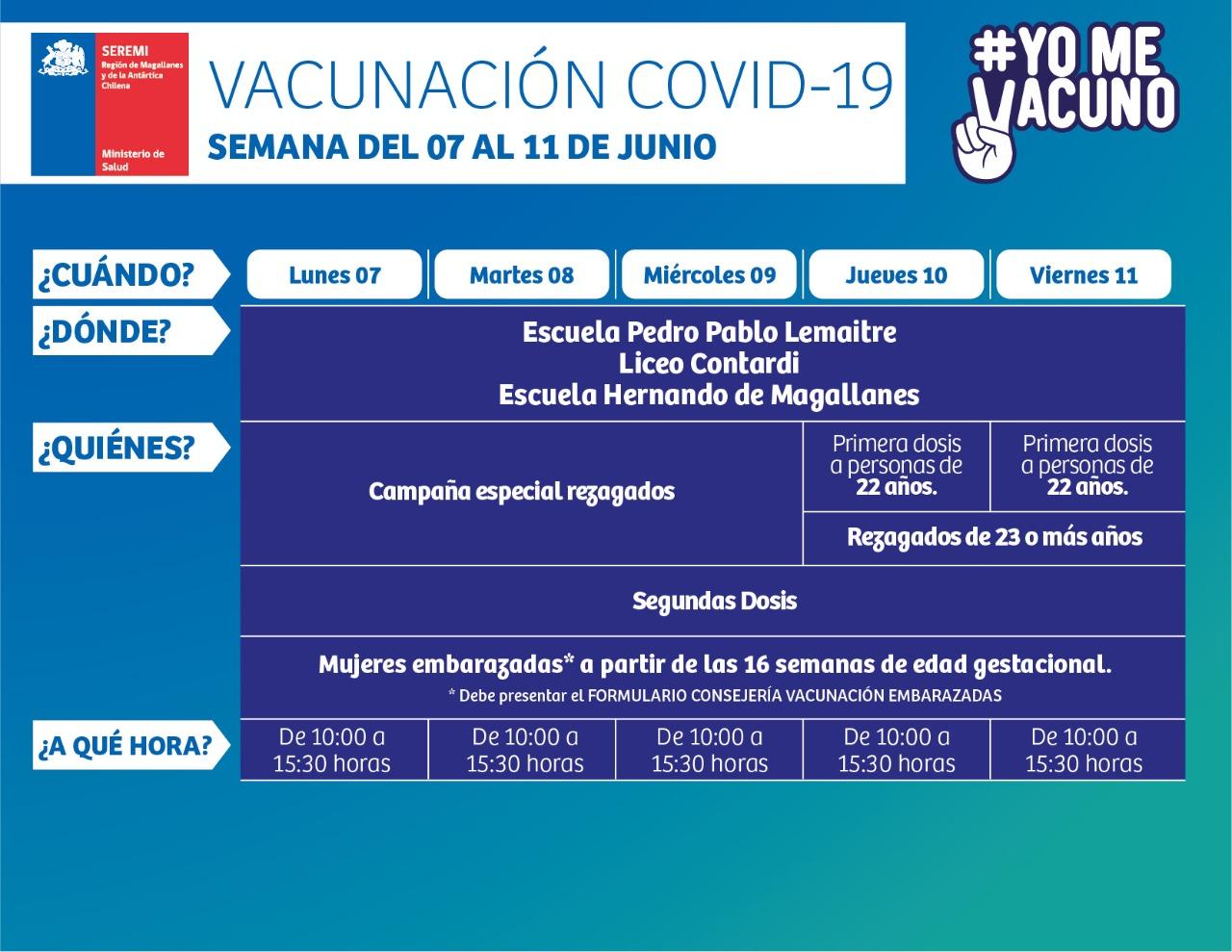 Calendario de vacunación contra influenza y covid19 en la comuna de Punta Arenas
